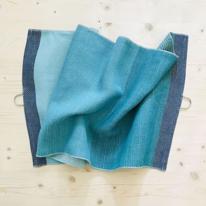 518 - Linentowel turquoise and blue