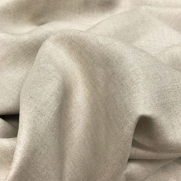 203 - BIO linen with a fine fishbone pattern Nature