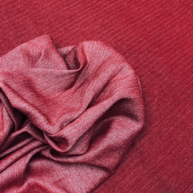 Linen & wool blanket with fishbone pattern Red